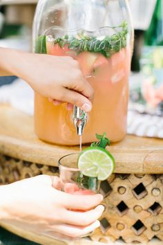 Watermelon sangria with mint and lime.
