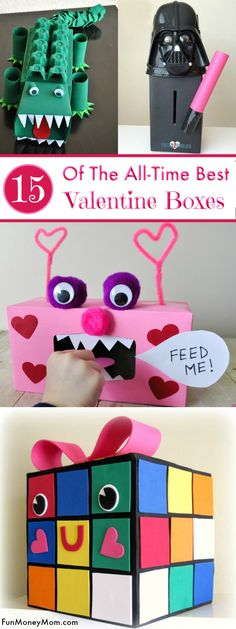 day manualidades Valentine Boxes - Kids will love making these fun Valentines Day crafts. These super cute Valentines Day boxes are fun for kids and gives them a great place to store those Valentines Day cards. Valentine Boxes For School, Kinder Valentines, Valentine Day Crafts, Valentine Ideas, Valentine Party, Printable Valentine, Homemade Valentines, Valentine Wreath, Valentinstag Party