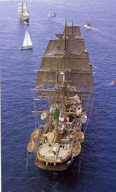 """The Italian """"Amerigo Vespucci"""" Spacious deck. Moby Dick, Old Sailing Ships, Full Sail, Wooden Ship, Tug Boats, Sail Away, Wooden Boats, Tall Ships, Water Crafts"""