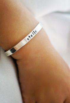 Baby bracelet - Cuff bracelet - Solid Sterling silver cuff bracelet. $46.00, via Etsy.