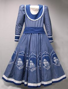 Da Gama Traditional Dresses, A tailored woman's dress with open neck, long sleeves, sash/belt and flared skirt made out of indigo dyed African Print Dresses, African Print Fashion, Africa Fashion, African Fashion Dresses, African Dress, African Prints, Fashion Outfits, African Outfits, Fashion Hacks