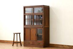 木の作業台付きモールガラス食器棚(収納棚)[R-006675]