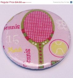 reserve listing for Linda neufeld 20 tennis pinback buttons 2.25 inch. $25.00, via Etsy.