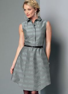 M7380 | McCall's Patterns. Pullover dresses have collar, collar band, fitted bodice, front half-placket, fly button closing, French darts, partially elasticized back pleated into self-lined yoke, skirt with side-front and side-back seams, shaped hemline, and narrow hem. A: Sleeveless, bias armhole facings. B: Long sleeves gathered into barrel cuffs.