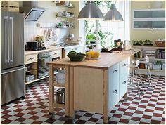 wooden kitchen islands ikea and blocking floor Ikea Kitchen Furniture, Kitchen Ikea, Ikea Kitchen Design, Kitchen Interior, New Kitchen, Kitchen Decor, Country Kitchen, Stairs Kitchen, Kitchen Remodeling