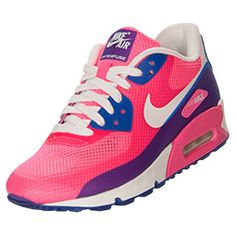 Women's Nike Air Max 90 Hyperfuse Premium Running Shoes | FinishLine.com | Pink Flash/Hyper Blue
