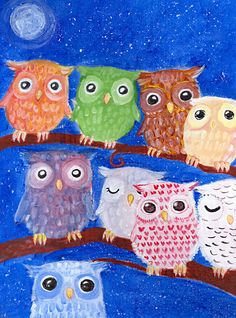 Colorful owls by noctua-nigrum on @DeviantArt