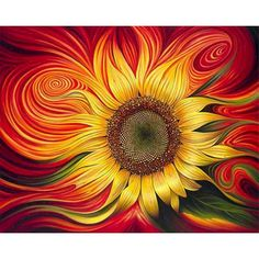 Red Sunflowers, Diamond Paint, Acrylic Paint Set, 3d Home, Cross Paintings, Flower Paintings, Wall Art Pictures, Paint By Number, Diy Frame