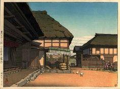 A Farmhouse in Ayashi Miyagi Prefecture in Autumn, by Kawase Hasui, 1946
