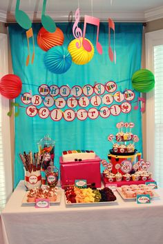 Cute idea for Pia's birthday party center stage/table set up :)