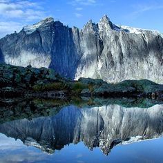 Trollveggen, the highest vertical rockface in northern Europe. View from the Vengedalen Valley in Isfjorden, Møre og Romsdal, Norway.