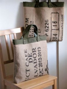 Coffee House Chic Upcycled XL Tote  Recycled by SandBagsDesigns