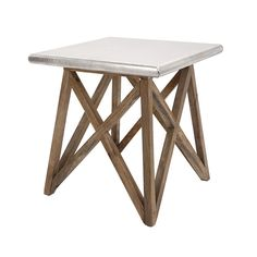 Criss Cross Wood  Aluminum Table