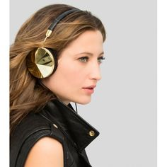 taylor black and gold headphones by Frends Girl With Headphones, Bond Girls, Perfect Christmas Gifts, Tech Accessories, Black Leather, Black Gold, Bling, Drop Earrings, Stylish