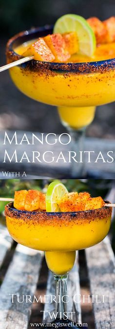 These Mango Margaritas spice things up a bit with a delicious turmeric simple syrup and a sprinkling of Tajin chili seasoning. They can also be frozen and taken to-go on picnics. | www.megiswell.com Best Frozen Mango Margarita Recipe, Spicy Margarita Recipe, Margarita Drink, Frozen Margaritas, Margarita Bebidas, Mango Cocktail, Mango Mojito, Mango Drinks, Summer Drinks