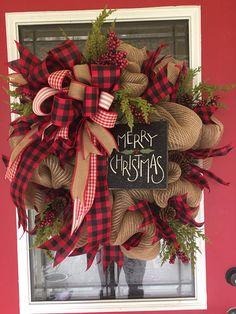 Rustic Merry Christmas Wreath