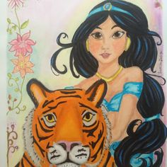 Jasmine and rajah. Alladins princess. Beautiful illustration for sale at LumisaDesign. Feel free to take a look in my shop. There is only one available!