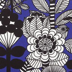 Textile Prints, Textile Patterns, Floral Prints, Pattern Bank, Pattern Design, Marimekko, Pretty Patterns, Beautiful Patterns, Black And White Lines