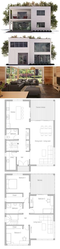 Small House Plan. This is very close to what I want. Add a rooftop deck, a bigger balcony on second level and and a covered deck on the bottom from the balcony.