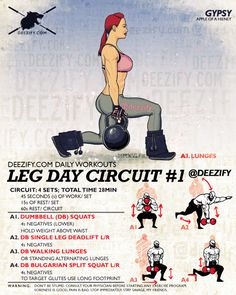 The Most Efficient Leg Workout. Get the most out of your leg workout by combining 4 exercises together to totally annihilate your legs. Butt Workout, Gym Workouts, At Home Workouts, Workout Fitness, Legs Day, Weight Training, Excercise, Planer, Fitness Inspiration