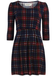 Navy Knitted Plaid Dress with tights and high boots