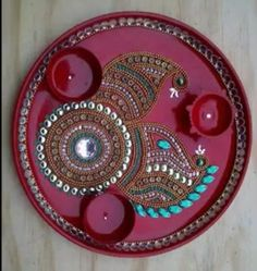 1000 images about art n craft on pinterest diwali for Aarti thali decoration with kundan