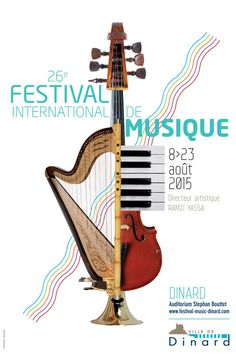 Festival of Classical Music in Dinard - Graphic Work Graphic Design Posters, Graphic Design Typography, Arte Do Piano, Musikfestival Poster, Music Flyer, Plakat Design, Event Poster Design, Music Illustration, Orchestra