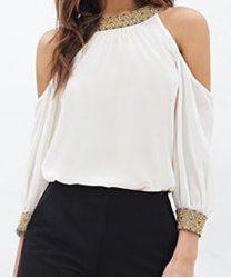 Ronda de cuello con estilo de las lentejuelas adornado 3/4 blusa de la gasa para las mujeres