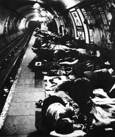 Bill Brandt: Crowded improvised air raid shelter in a Liverpool Street tube tunnel, 1940, Sept-Nov