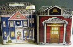 Snowy House and Schoolhouse Tins, Small Container Tins w High Relief, Set of 2, All Sides Feature Different Scenes, Collectable Tins