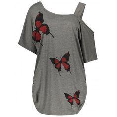 GET $50 NOW | Join Dresslily: Get YOUR $50 NOW!http://m.dresslily.com/plus-size-cold-shoulder-butterfly-print-top-product2046244.html?seid=bnAQ67bI1b4dGKC4l2d45QtACO