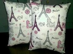 Handmade Set of 2 11X12 PARIS PINK EIFFEL TOWER Decor throw pillows Decoration