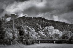 bwstock.photography  //  #church #river #Tyrol #bridge Black White Photos, Black And White, Free Black, Bridge, Public, Clouds, River, Photography, Outdoor