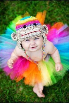 size Birthday Tutu set, baby girl tutu, Rainbow silly sock monkey crochet animal stripe bright hat photography prop on Etsy, Baby kid kid Rainbow Tutu, Rainbow Baby, Rainbow Monkey, Rainbow Magic, Rainbow Brite, Cute Kids, Cute Babies, Baby Kids, Cute Baby Pictures
