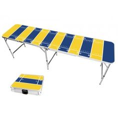 Yellow Gold & Deep Royal Blue Football Field 8 Foot Portable Folding Tailgate Beer Pong Table from TailgateGiant.com
