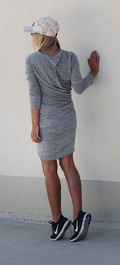 Sporty Outfit - Long Sleeved Grey Dress + Nike Sneakers Outfit