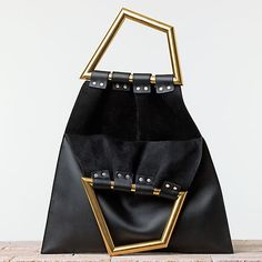 new CELINE Phoebe Philo black leather gold triangle metal handle bag runway NWT  #Celine #trianglehandlebag