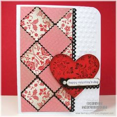 This card uses SAB's Everyday Enchantment DSP and the Postage Stamp punch to create the quilt effect. I've posted a close-up photo on my blog. http://twohappystampers.blogspot.com/2012/01/quilted-valentine.html
