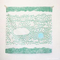 """mori to hoshi"" (forest and stars) handkerchief/furoshiki / by h/a/r/v/e/s/t - midori sanada (via)"