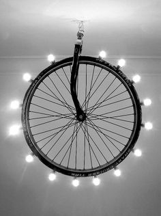 Who doesn't love a recycled bicycle wheel?