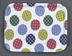 Birchwood tray with fabric (unknown design) Print on cotton 1950s