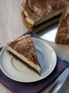 tiramisu tart; a sweet shortbread cookie crust with a rich chocolate ganache filling and a coffee mascarpone cream topping