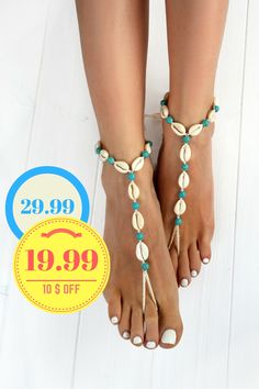 Turquoise and Seashells Barefoot Sandals Boho Jewelry Foot