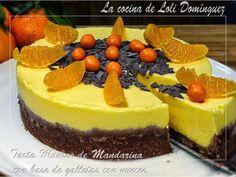 Tarta mousse de mandarina con base de galletas con nueces., Receta por Lolioctubre1963 - Petitchef
