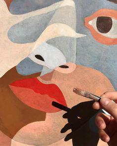 """L'illustratrice parisienne Inès Longevial (@ineslongevial) croit en la puissance du partage de son processus artistique, et c'est pour cela qu'elle montre souvent des œuvres encore inachevées ou des travaux préparatoires. """"C'est un moyen d'exposer mon travail, explique-t-elle. Cela permet de montrer le fil rouge de mon art, le lien qu'il y a entre la peinture et le dessin, les formes et les couleurs. La plupart du temps, je n'ai pas peur de montrer mon travail inachevé car je pense que les…"""