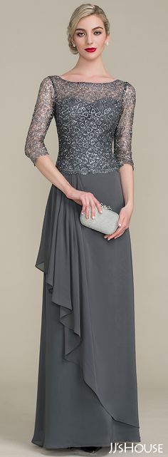 Lan Ting Sheath/Column Mother of the Bride Dress - Silver Floor-length Short Sleeve Chiffon / Lace Mother Of Groom Dresses, Mothers Dresses, Mother Of The Bride, Mob Dresses, Fashion Dresses, Bridesmaid Dresses, Formal Dresses, Vestidos Mob, Dress Brokat