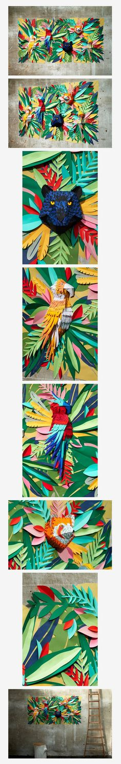 Hipolyte - Tropical Jungle Paper art / collage Brazil Olympics themed project for Arts Camp.Mlle Hipolyte - Tropical Jungle Paper art / collage Brazil Olympics themed project for Arts Camp. Rainforest Classroom, Rainforest Project, Rainforest Theme, Amazon Rainforest, Party Fiesta, Rio Party, Up Book, Jungle Theme, Safari Theme