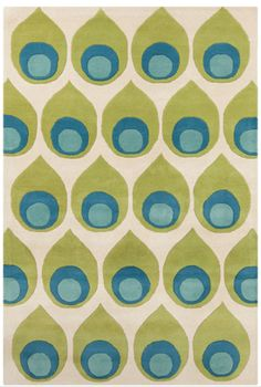 green, blue and cream midcentury modern area rug