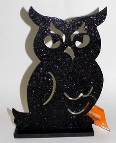 ⏳PRICE REDUCED 4⃣▪9⃣9⃣! Get in time for HALLOWEEN. ⌚Last One Left  @salesfortoday FOLLOW Also check out www.stores.ebay.com/jenscreationstx  Black Owl Halloween Tabletop Decor- Glitter Sparkle Party Decorations