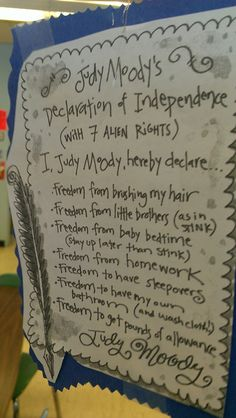 Students write their own Declaration of Independence, inspired by the real thing and Judy Moody's very own! Judy Moody, 3rd Grade Social Studies, Joy Quotes, 2nd Grade Writing, Life Quotes Pictures, Student Teaching, Teaching Ideas, Author Studies, Declaration Of Independence